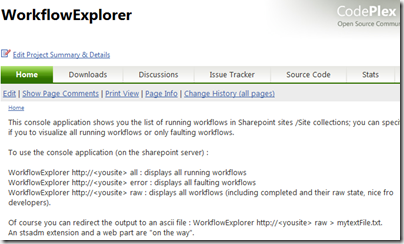 New version of my Workflow Explorer (or 'Scanner' ) uploaded to Codeplex