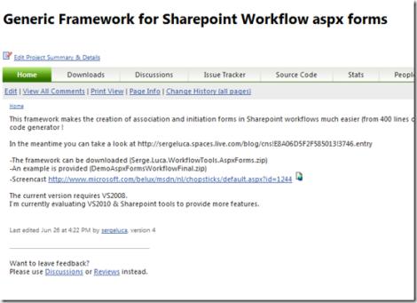 My Generic workflow framework for Sharepoint updated in Codeplex (Beta)