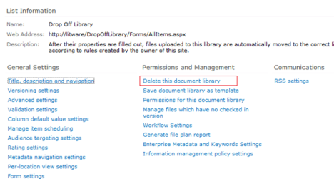 Sharepoint 2010 How to delete the Drop Off Library