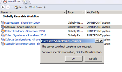 Cannot copy and modify workflows in subsites (Sharepoint Designer 2010)