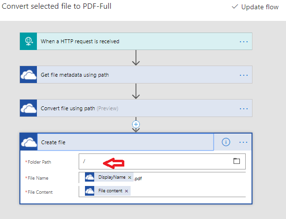 "Microsoft Flow : customize the OneDrive ""Convert File To PDF"