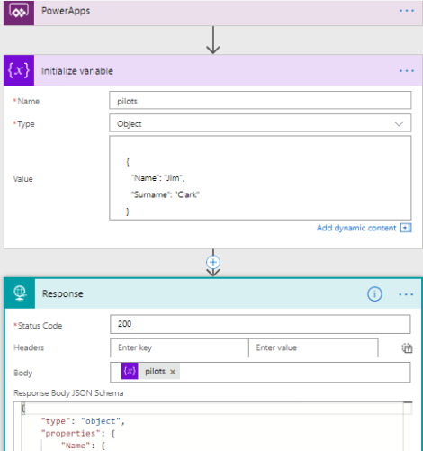 Return info from Flow to PowerApps : you can always use the Request