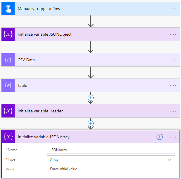 Microsoft Flow (advanced) tutorial : creating a CSV to JSON